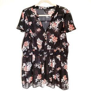 TORRID Black Floral Sheer V-Neck Blouse Top 3X